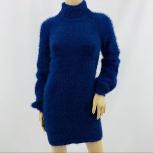 House of Harlow X Revolve Blue Fuzzy Sweater Dress